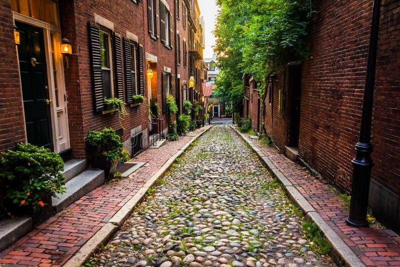 Acorn Street, in Beacon Hill, Boston, Massachusetts. royalty free stock images
