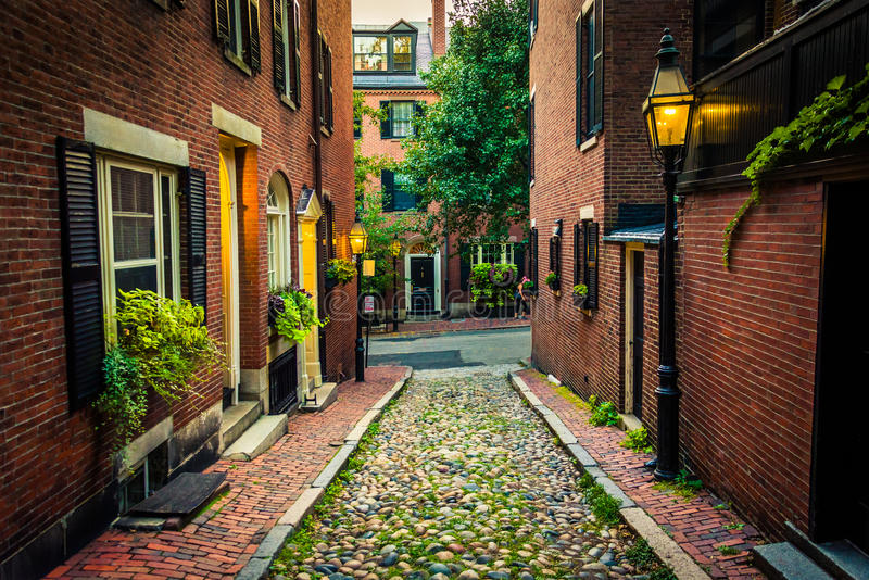 Acorn Street, in Beacon Hill, Boston, Massachusetts. stock images
