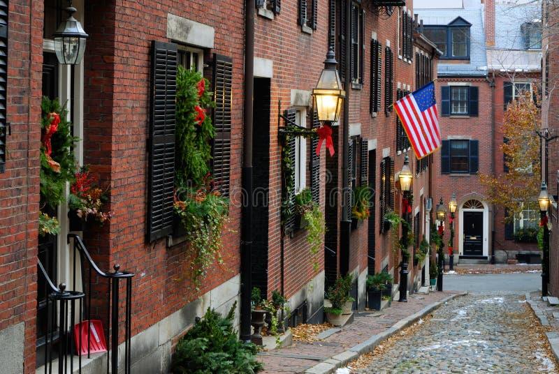 Acorn Street, Boston. Acorn Street around Christmas in Boston, Massachusetts
