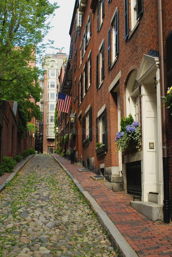 Acorn Street in Boston stock photos