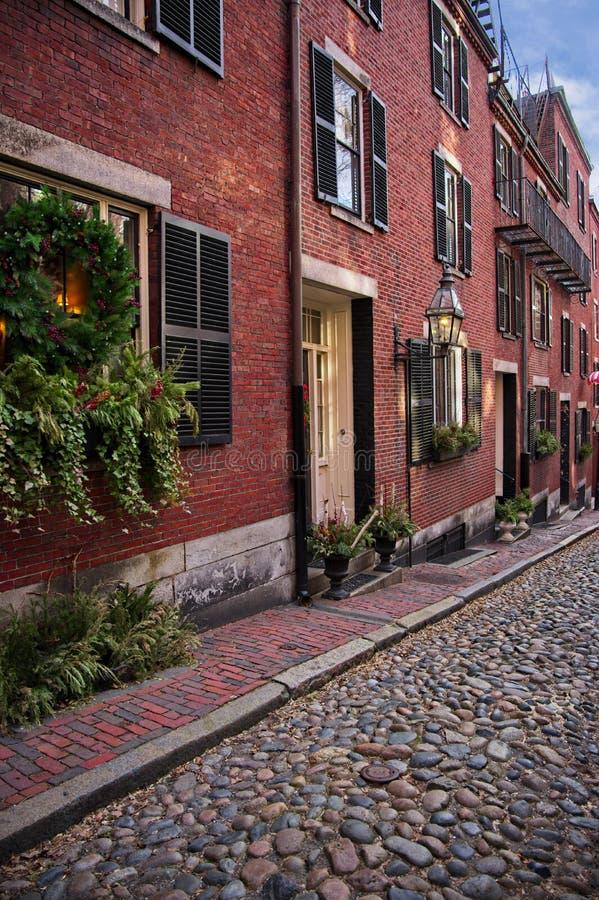 Acorn Street in Boston, Beacon Hill, during the winter stock photo