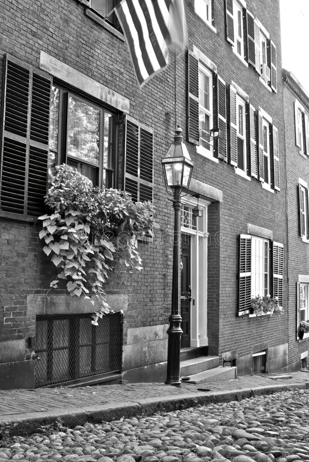Acorn street with flag royalty free stock photo