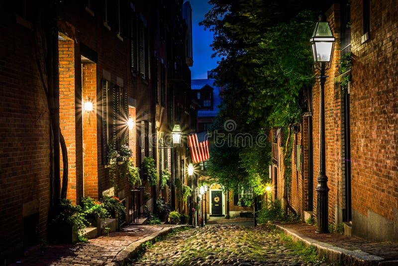 Acorn Street at night, in Beacon Hill, Boston Massachusetts. stock image