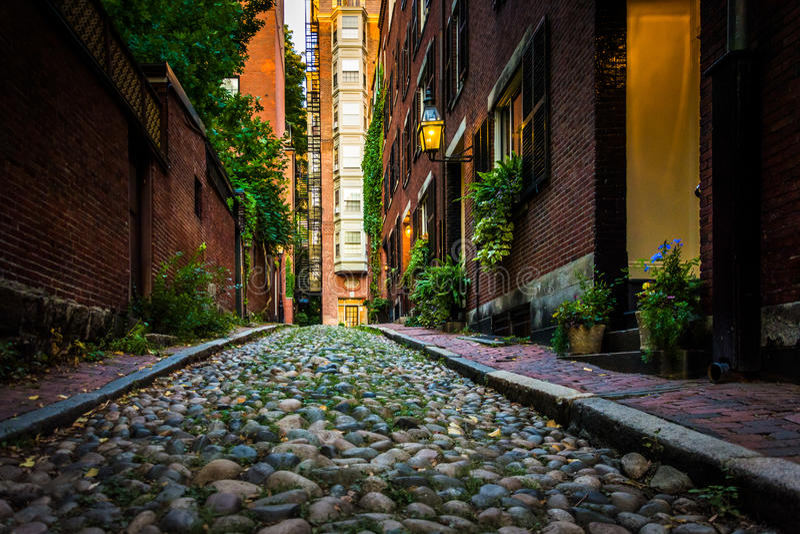 Acorn ulica w Beacon Hill, Boston, Massachusetts zdjęcie royalty free