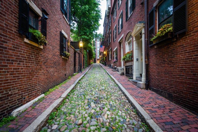 Acorn ulica w Beacon Hill, Boston, Massachusetts fotografia stock