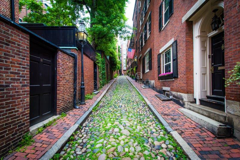 Acorn ulica w Beacon Hill, Boston, Massachusetts obrazy royalty free