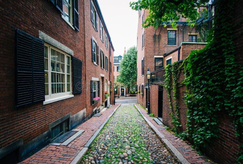 Acorn ulica w Beacon Hill, Boston, Massachusetts zdjęcia stock