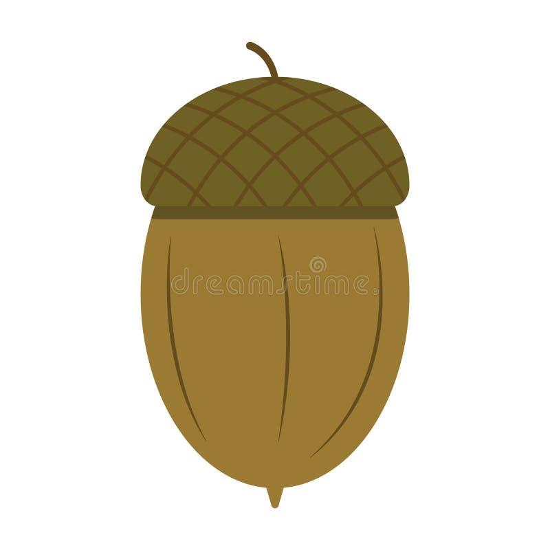 Acorn on a white background icon illustration royalty free illustration