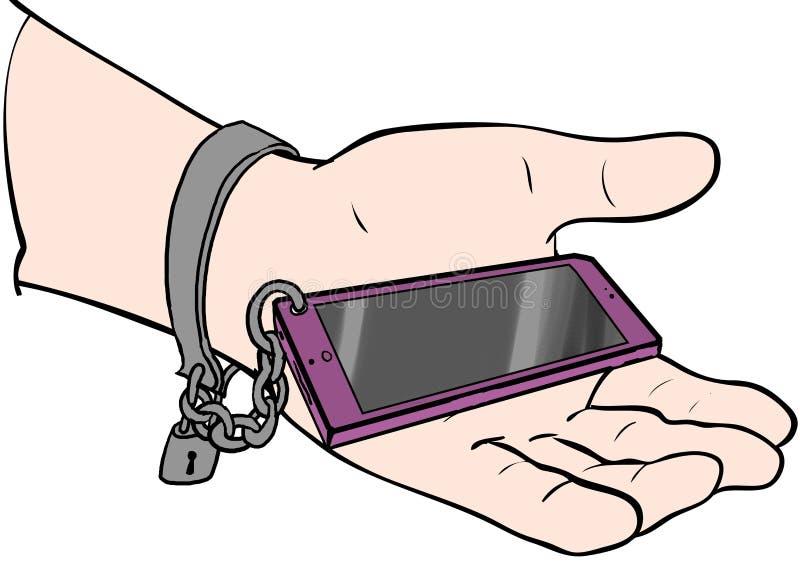 Acorrentado ao telefone ilustração do vetor