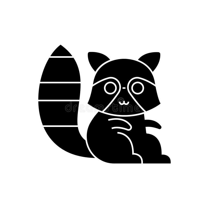 Acose el icono lindo del mapache, ejemplo del vector, muestra negra en fondo aislado ilustración del vector