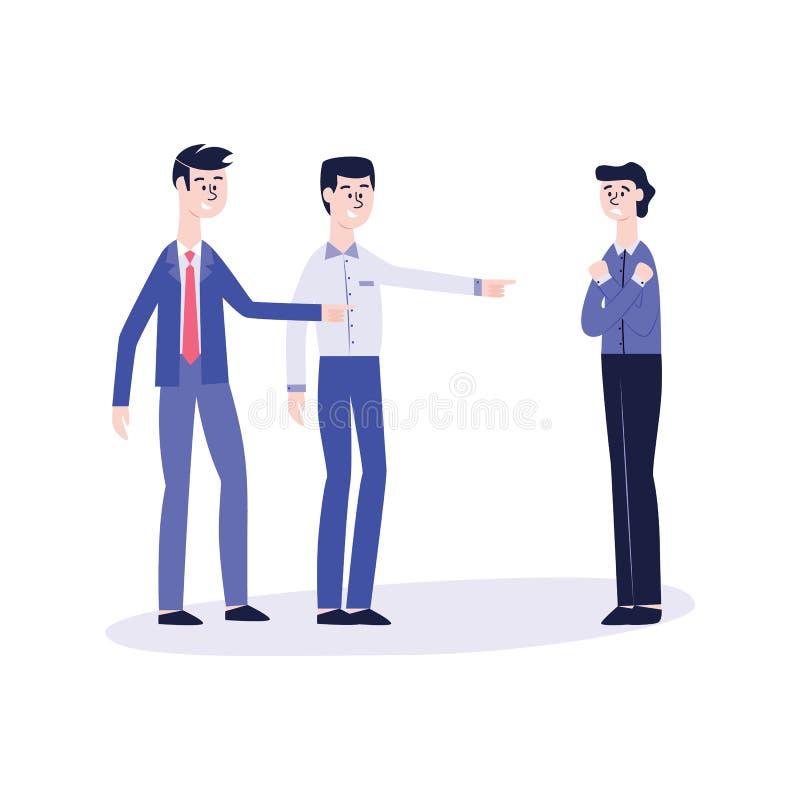 Acoso de la oficina del vector, hombres del matón que imitan a la víctima stock de ilustración