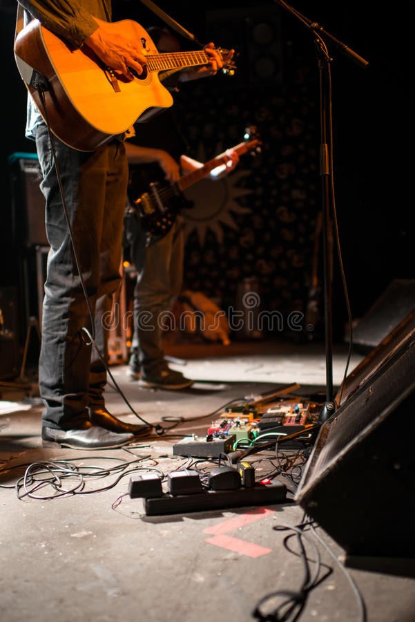 Acoustic band concert on stage royalty free stock photo