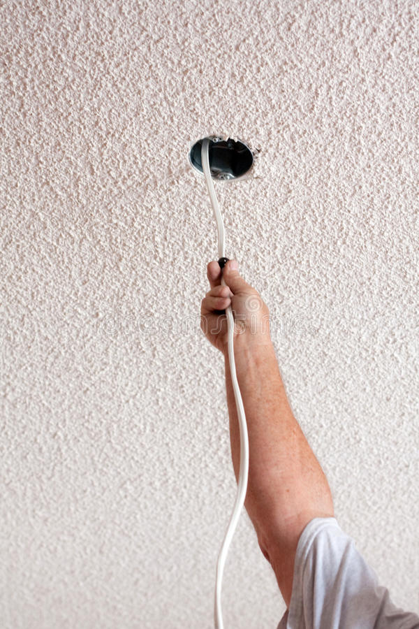 Download Acoustic Ceiling With Electric Wire Hanging Stock Photo - Image: 25283078