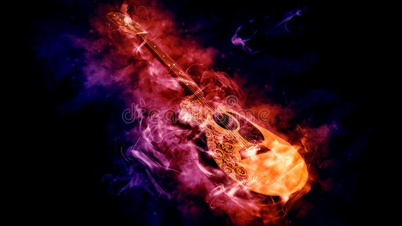 Acoustic Classical Guitar in Smoke on black royalty free illustration