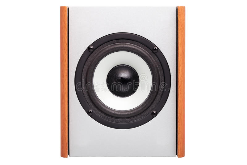 Acoustic column with white loudspeaker. Acoustic column on a white background, nobody. The white loudspeaker with a black dome, acoustics case from a tree stock images