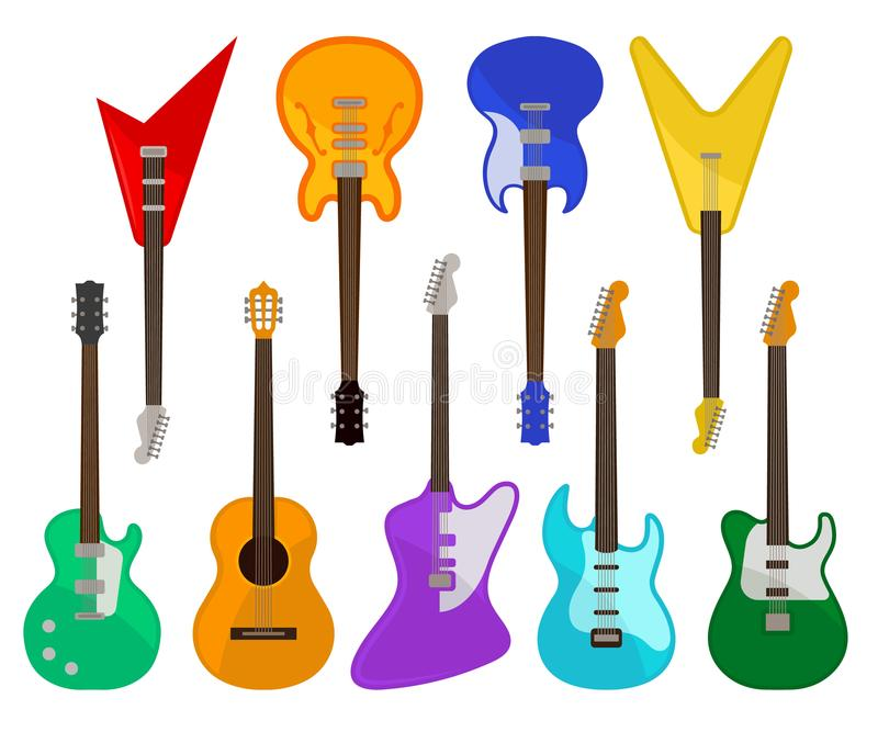 Acoustic and electric guitars set, musical instruments of various colors vector Illustrations on a white background royalty free illustration