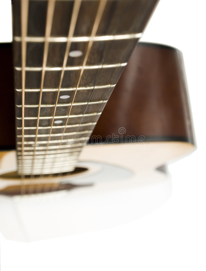 Acoustic guitar. Concert acoustic guitar on white background royalty free stock image