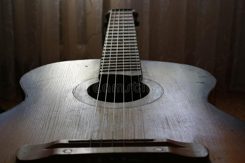 Acoustic guitar. Strings for making music stock images
