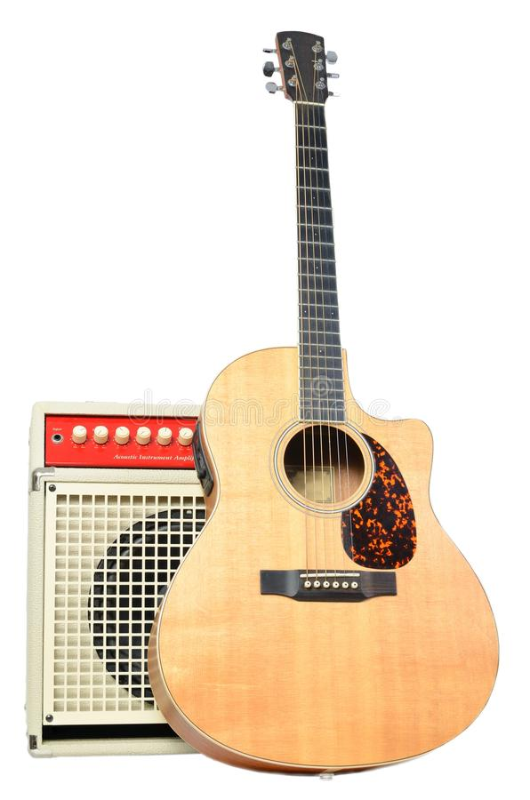 Download Acoustic Guitar And Acoustic Instrument Amplifier Stock Image - Image: 18495733