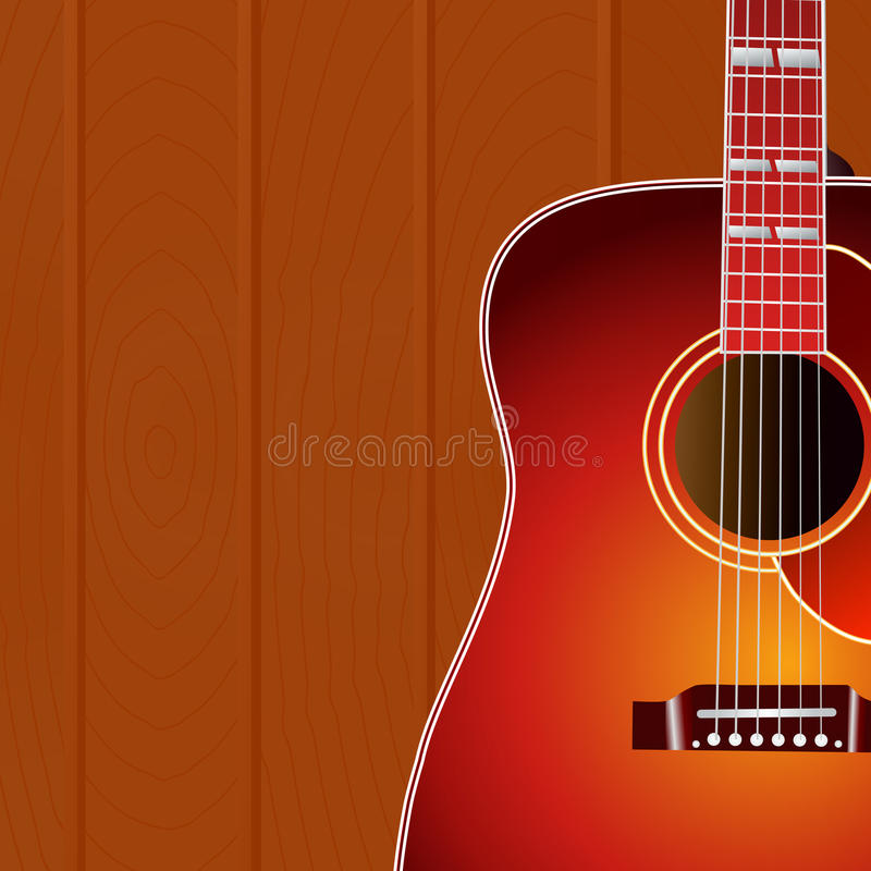 Acoustic guitar against the wood wall background with copy space for your text . Music cover. stock illustration
