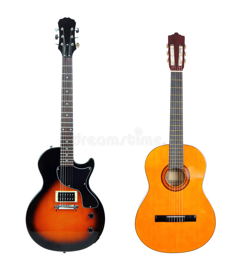 Free Acoustic Guitar Anf Electric Guitar Royalty Free Stock Photography - 30038287