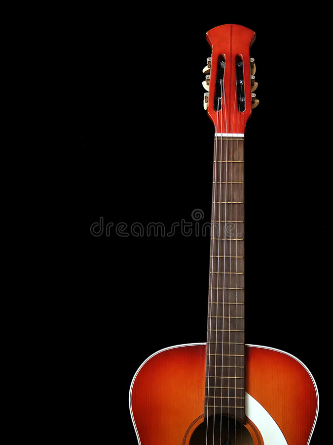 Acoustic guitar on black background 1 royalty free stock photography
