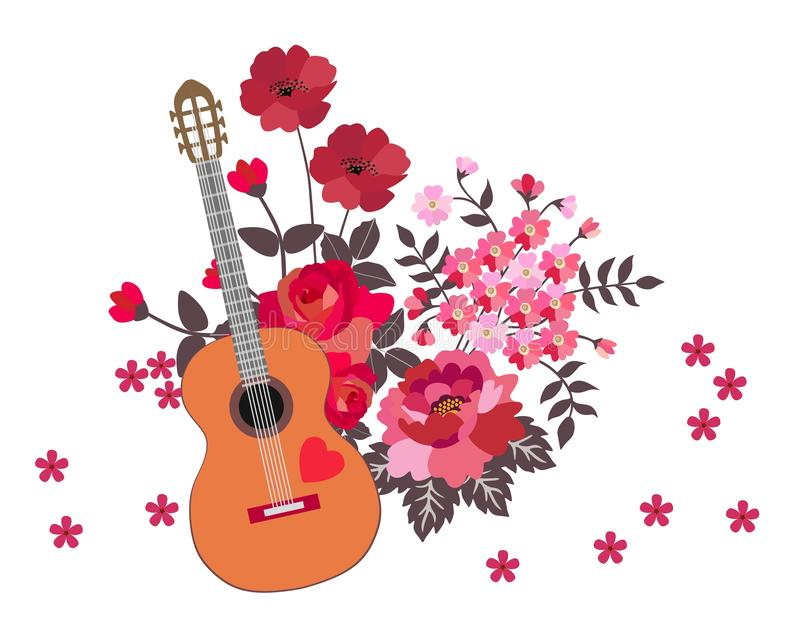 Acoustic guitar and bouquet of red and pink flowers isolated on white background. Cute cartoon illustration. Music symbol.  stock illustration