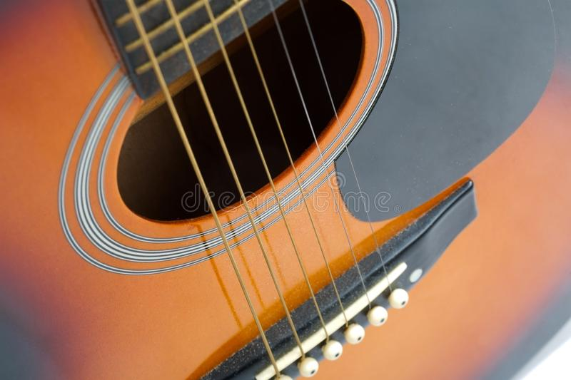 Acoustic Guitar Detail. Acoustic guitar close up detail royalty free stock photography