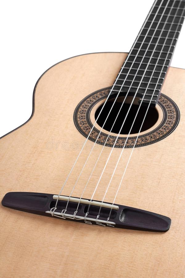 Acoustic guitar close up on white background stock photos