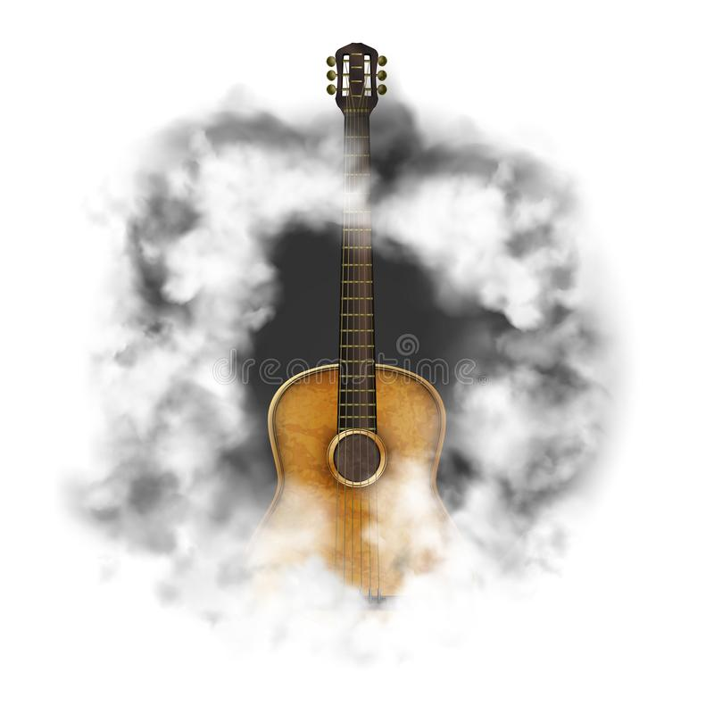 Acoustic guitar in a cloud of smoke vector illustration