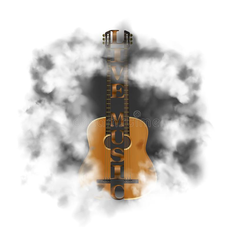 Acoustic guitar in a cloud of smoke royalty free illustration