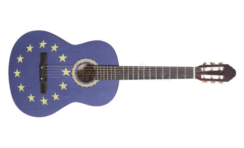 Acoustic guitar with European Union Flag royalty free stock photography
