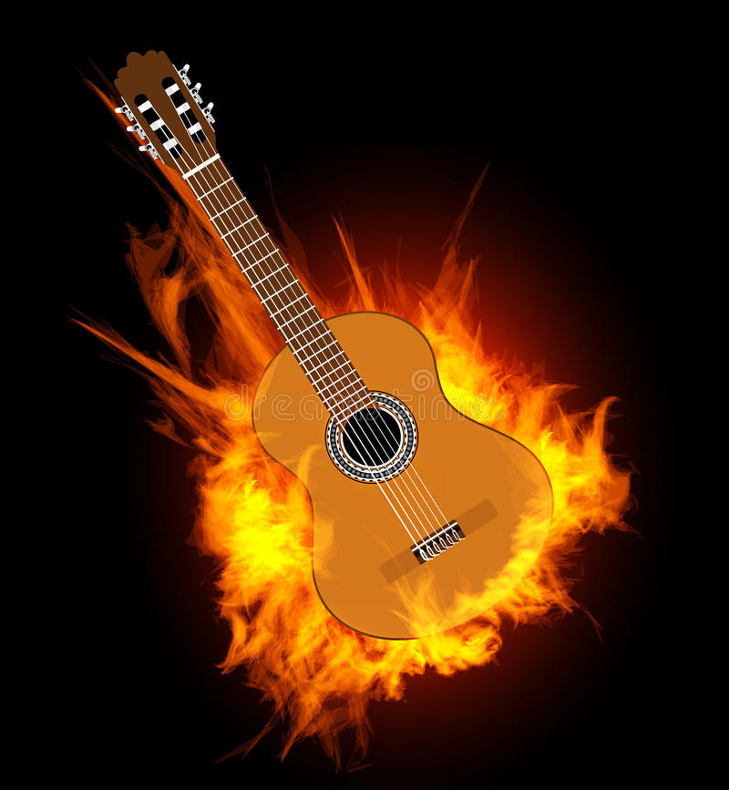 Acoustic Guitar In Fire Flame Stock Vector - Image: 39162575