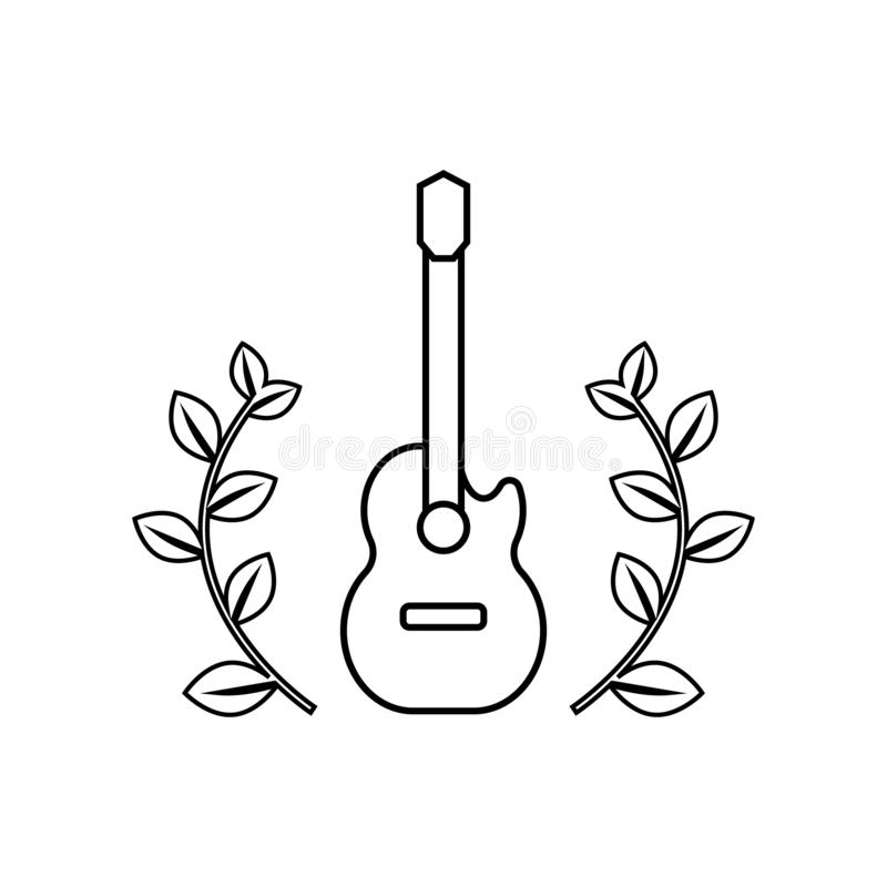 Acoustic guitar with floral frame stock illustration