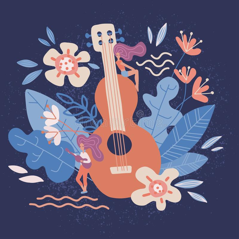 Acoustic Guitar in flowers. Musical instruments store poster design idea with notes, leaves isolated on dark background. Rock band. Performance,banner template vector illustration