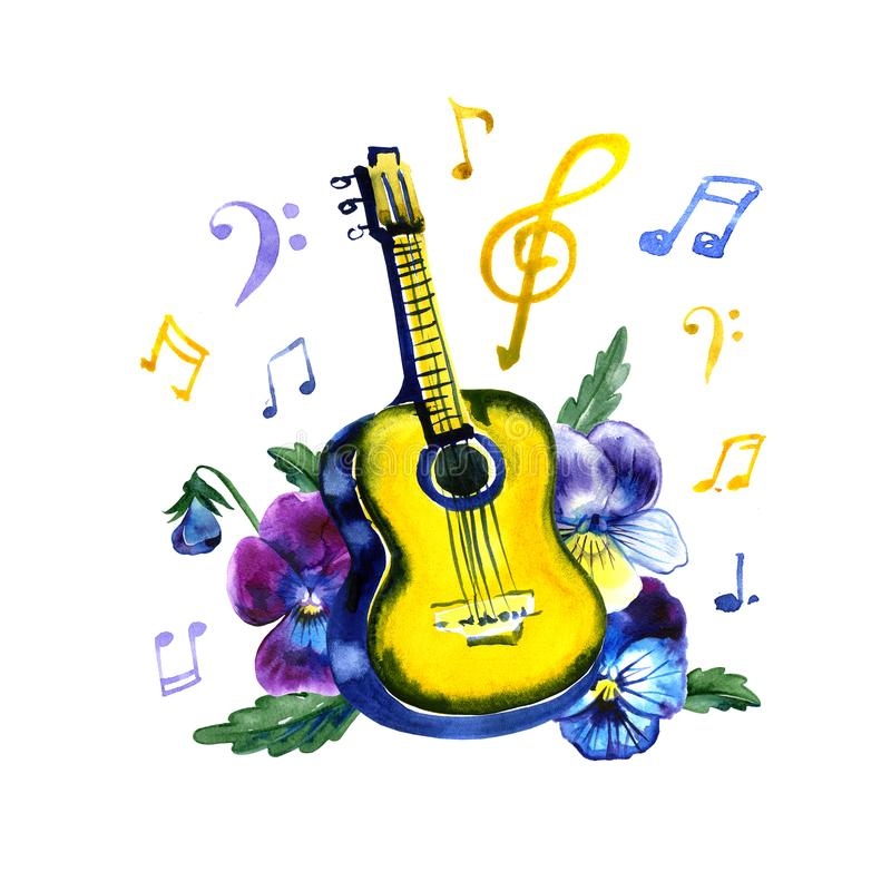 Acoustic guitar with pansy flowers. Watercolor illustration on white background stock illustration