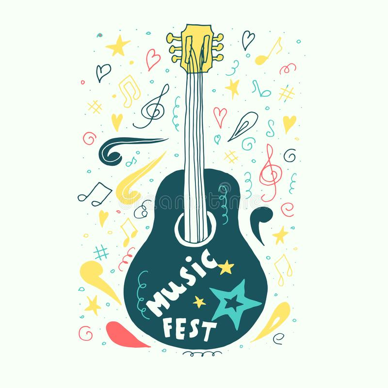 Acoustic guitar in hand drawn style. Vector illustration vector illustration