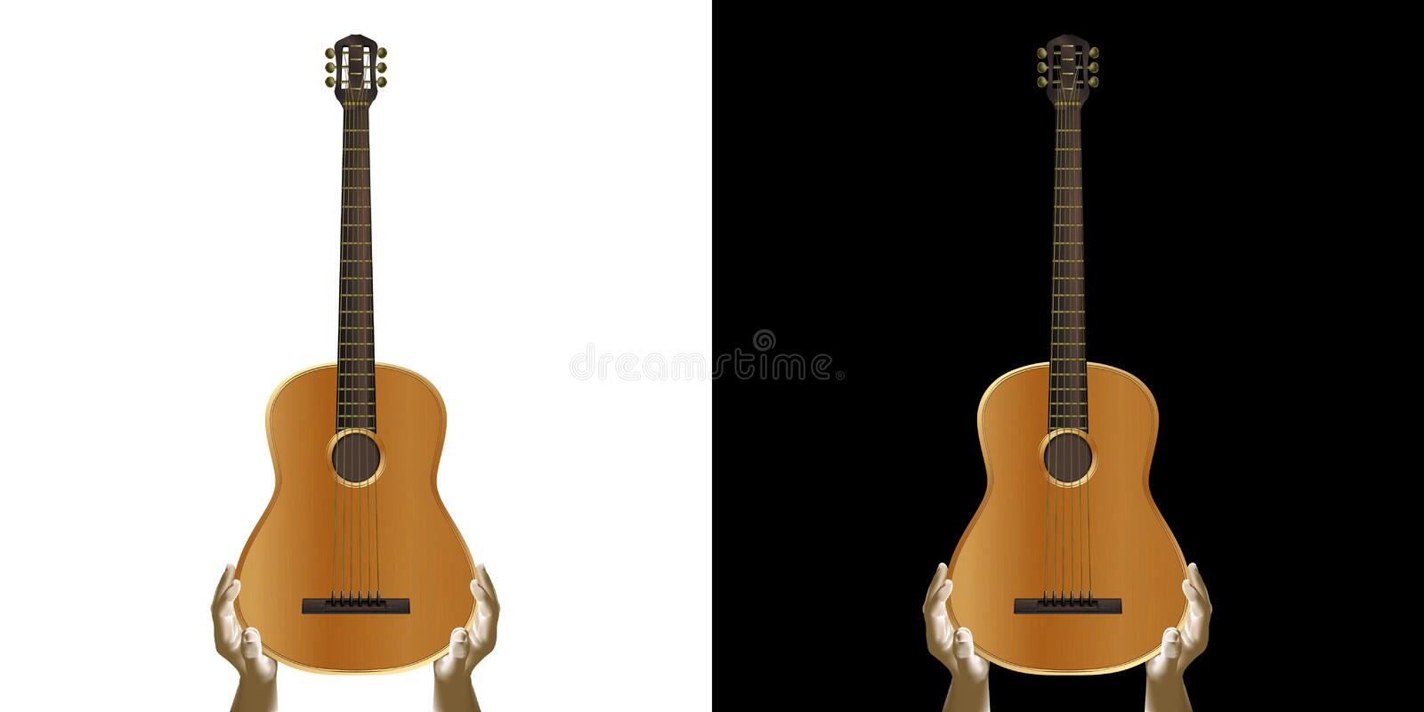 Acoustic guitar in hand. royalty free illustration