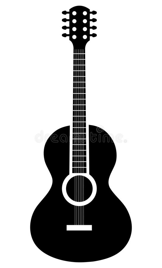 Acoustic guitar icon in black and white colors. royalty free illustration
