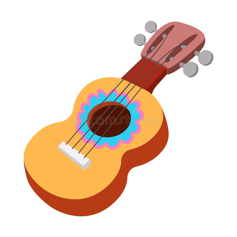 Acoustic guitar icon, cartoon style. Acoustic guitar icon in cartoon style on a white background vector illustration