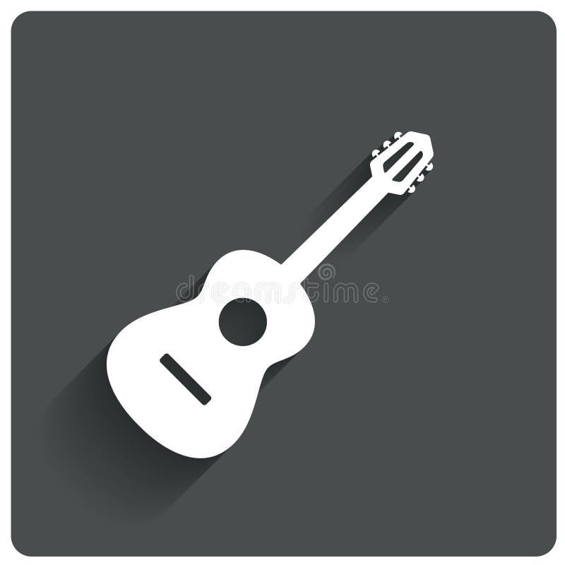 Acoustic guitar icon. Live music symbol. Flat icon stock illustration