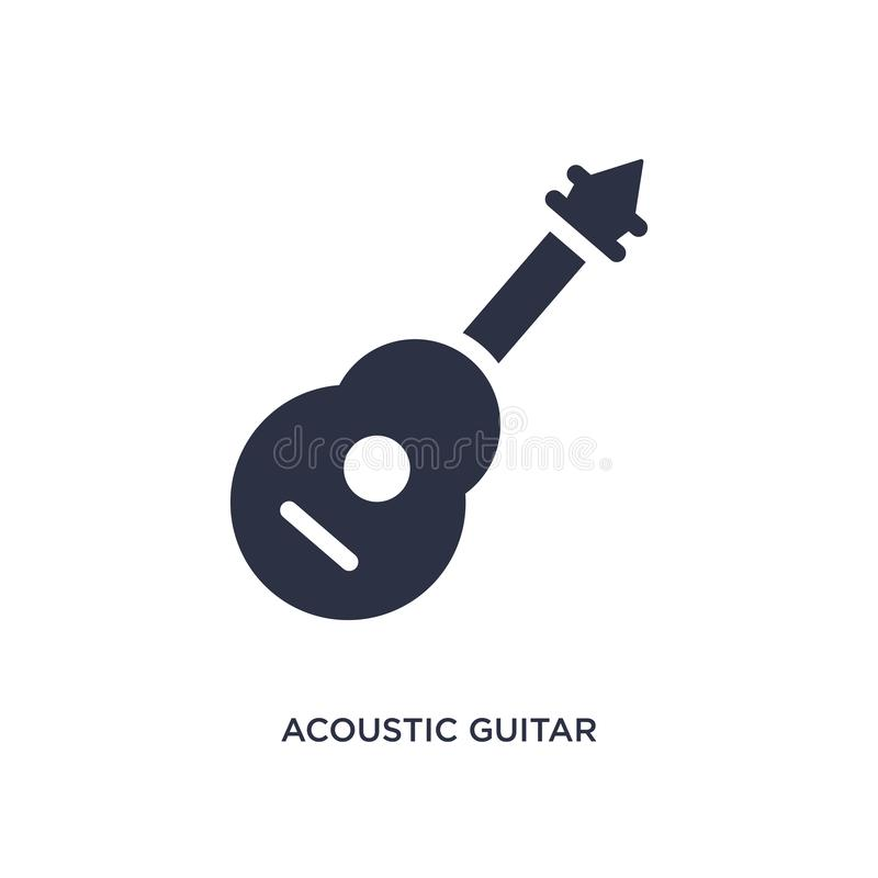 acoustic guitar icon on white background. Simple element illustration from music concept royalty free illustration