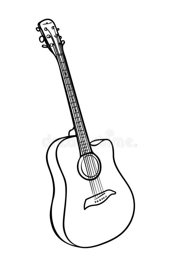 Free Acoustic Guitar In Black And White Colors Stock Image - 148840271