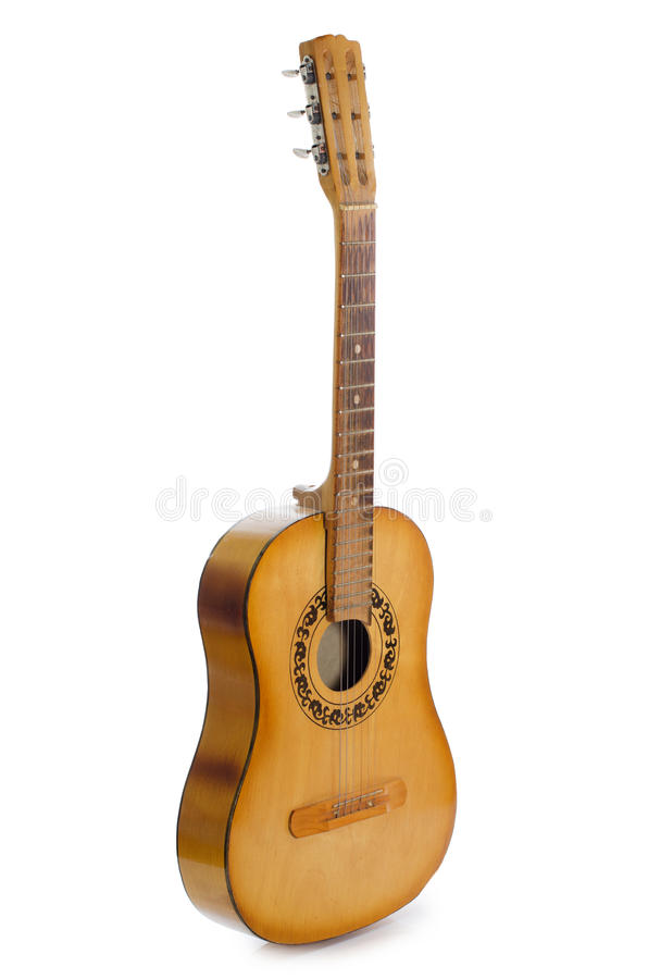 Free Acoustic Guitar Isolated On A White Royalty Free Stock Photos - 19527098