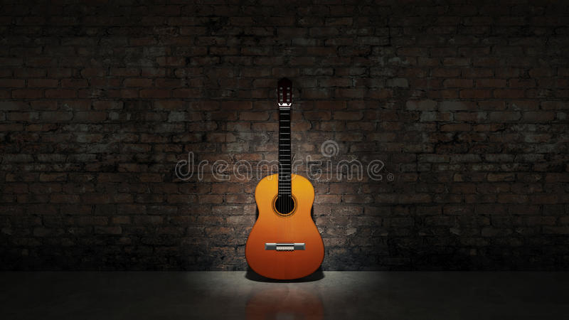 Acoustic guitar leaning on grungy wall vector illustration
