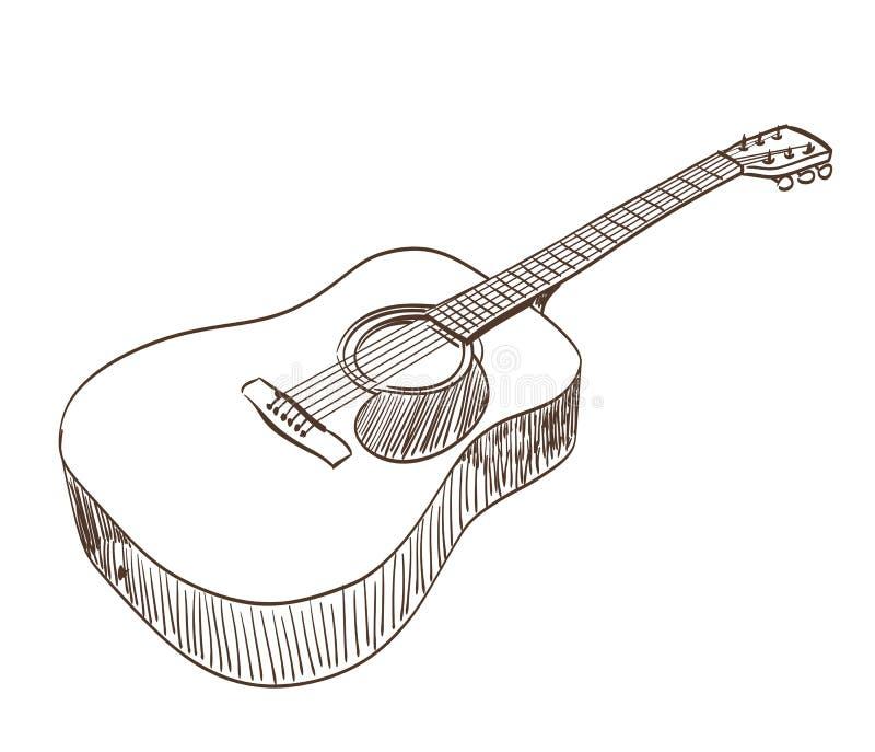 Line Art Guitar : Acoustic guitar stock vector illustration of sound
