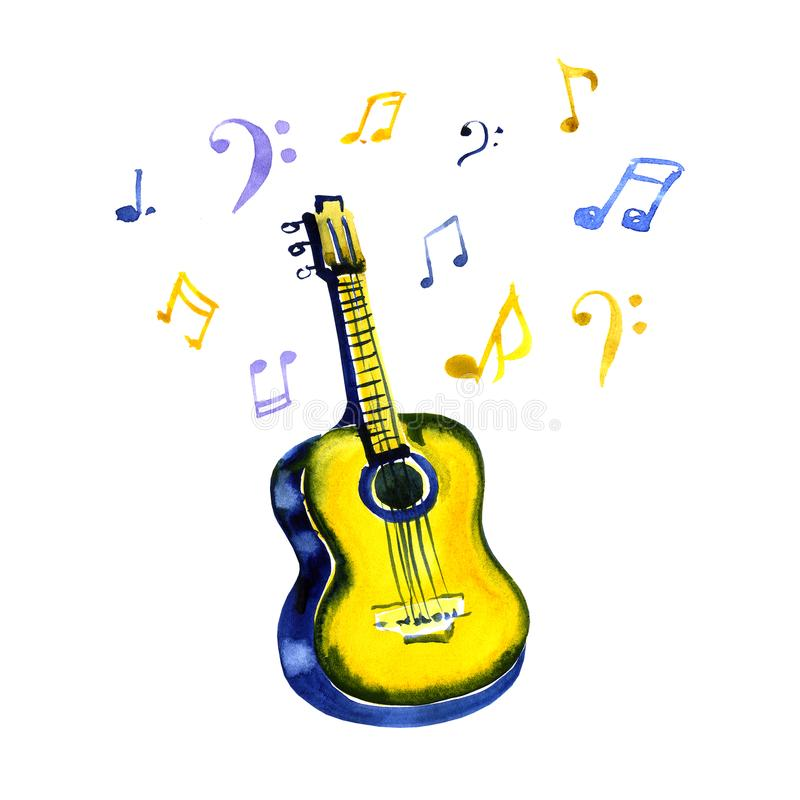 Acoustic guitar made with watercolor strokes and musical notes on white background royalty free illustration