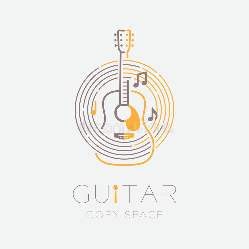 Acoustic guitar, music note with line staff circle shape logo icon outline stroke set dash line design illustration isolated on. Grey background with guitar royalty free illustration