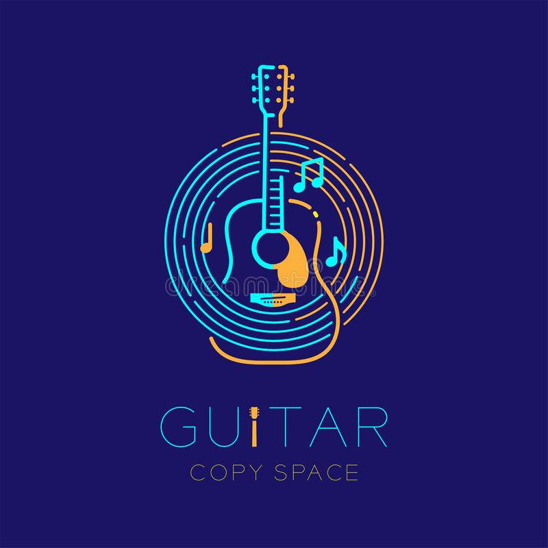 Acoustic guitar, music note with line staff circle shape logo icon outline stroke set dash line design illustration. Isolated on dark blue background with royalty free illustration