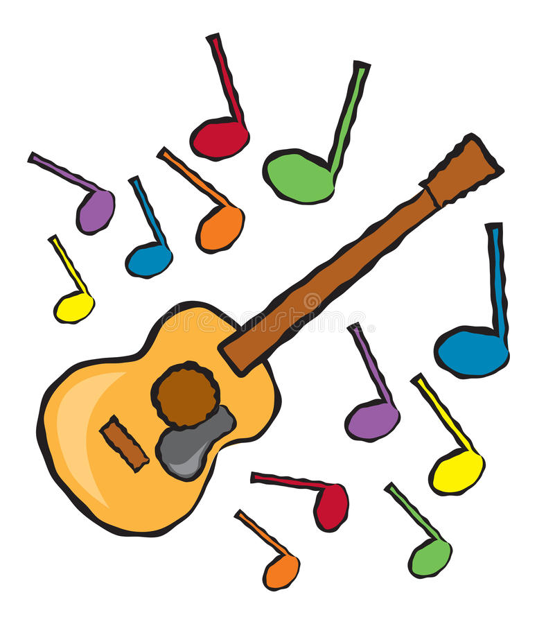 acoustic guitar and music notes stock vector illustration of note rh dreamstime com cartoon music notes font cartoon music notes free